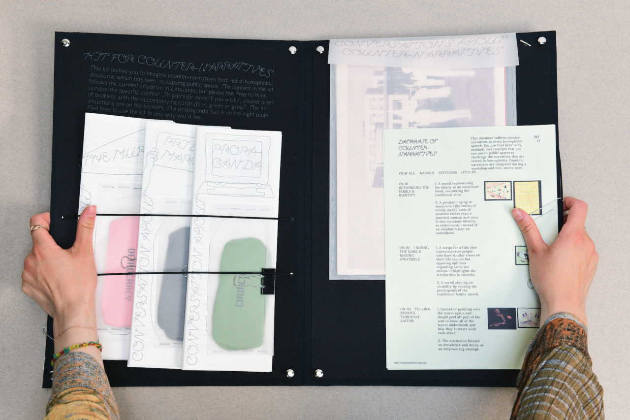 """The image shows the workshop materials. Two hands hold a black folder. On the top left, there is a description of the workshop written in white ink. Below are three booklet sets with cards in transparent envelopes. On the right side of the folder there is a big transparent envelope with """"conversations about counter-narratives"""" written on it. It contains large images with cut-out people. On top of it, there is another paper attached, with images and text. It is the database of the workshop."""